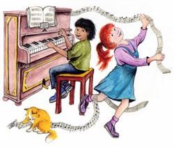 Children playing piano and enjoying music