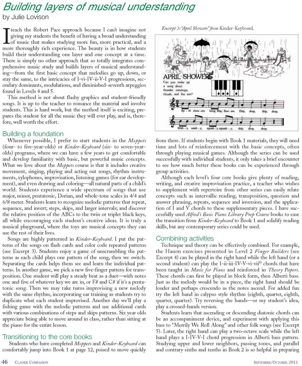 Building Layers of Musical Understanding, By Julie Lovison, In Clavier Companion Magazine: September/October.